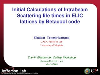 Initial Calculations of Intrabeam Scattering life times in ELIC lattices by Betacool code