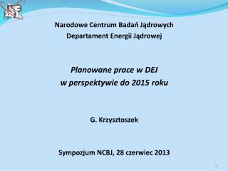 Narodowe Centrum Badań Jądrowych Departament Energii Jądrowej Planowane prace w DEJ