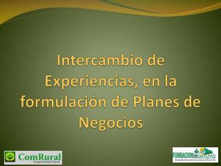 Intercambio de Experiencias, en la formulación de Planes de Negocios