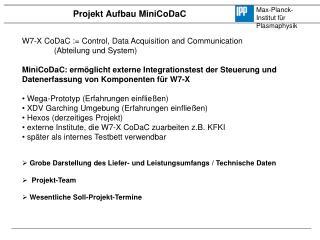 Projekt Aufbau  MiniCoDaC