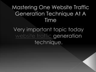 Becoming the master of a website traffic generation techniqu