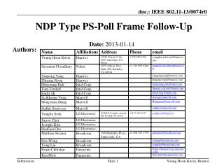 NDP Type PS-Poll Frame Follow-Up