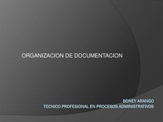 BONEY ARANGO TECNICO PROFESIONAL EN PROCESOS ADMINISTRATIVOS