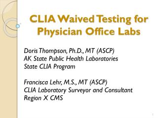 CLIA Waived Testing for Physician Office Labs