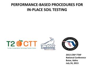 PERFORMANCE-BASED PROCEDURES FOR  iN-PLACE SOil TESTING