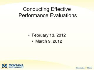 Conducting Effective  Performance Evaluations