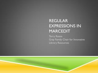 Regular Expressions in MarcEdit