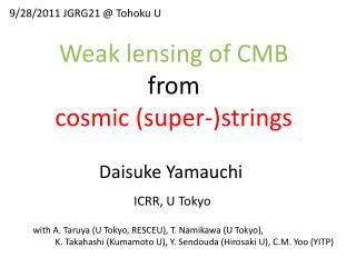 Weak lensing of CMB from cosmic (super-)strings
