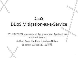 DaaS :  DDoS Mitigation-as-a-Service