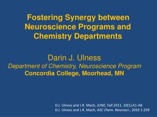 Fostering Synergy between Neuroscience Programs and Chemistry Departments