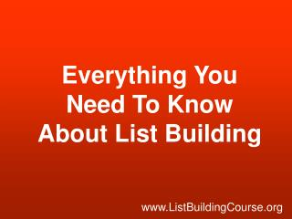 List Building Course