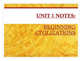 UNIT 1 NOTES:  BEGINNING CIVILIZATIONS