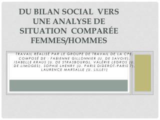 Du Bilan  social  vers   une analyse de situation  comparée femmes/hommes