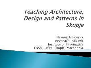 Teaching Architecture, Design and Patterns in Skopje