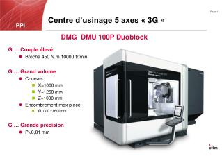 Centre d'usinage 5 axes «3G»