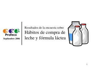 Resultados de la encuesta sobre  Hábitos de compra de leche y fórmula láctea