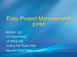 Easy Project Management EPM