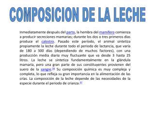 COMPOSICION DE LA LECHE