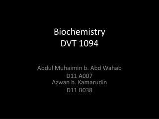 Biochemistry DVT 1094