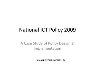 National ICT Policy 2009