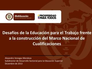Alejandro Venegas Mendoza Subdirector de Desarrollo Sectorial para la Educación Superior