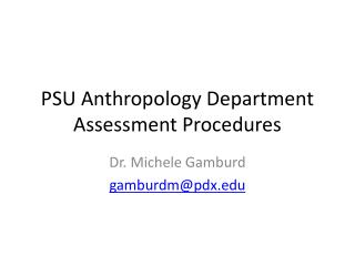 PSU Anthropology Department Assessment Procedures
