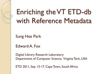 Enriching the VT ETD- db with  Reference Metadata