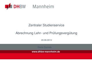 Zentraler Studienservice Abrechnung Lehr- und Prüfungsvergütung 20.09.2013
