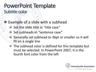 PowerPoint Template Subtitle color