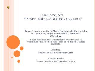 """Esc. Sec. N°1  """"Profr. Astolfo Maldonado Leal"""""""