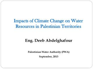 Impacts of Climate Change on Water Resources in Palestinian Territories