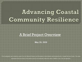 Advancing Coastal Community Resilience