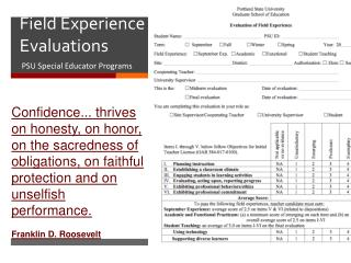 Field Experience  Evaluations