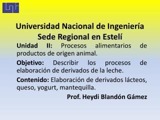 Universidad Nacional de Ingeniería Sede Regional en Estelí