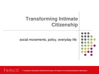 Transforming Intimate Citizenship