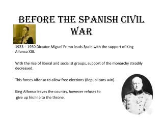 Before the Spanish Civil War