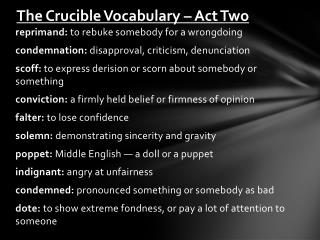 The Crucible Vocabulary – Act Two