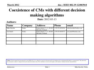 Coexistence of CMs with different decision making algorithms
