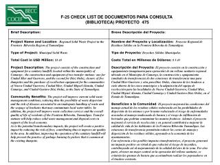 F-25 CHECK LIST DE DOCUMENTOS PARA CONSULTA  (BIBLIOTECA) PROYECTO  475