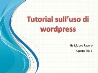 Tutorial sull�uso di  wordpress