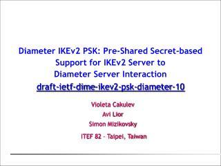 Violeta Cakulev Avi Lior  Simon Mizikovsky    ITEF  82  –  Taipei, Taiwan