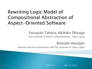 Rewriting Logic Model of Compositional Abstraction of Aspect-Oriented Software