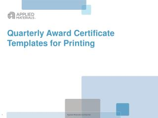 Quarterly Award Certificate Templates for Printing