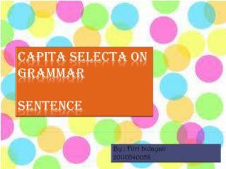 Capita Selecta  On Grammar sentence