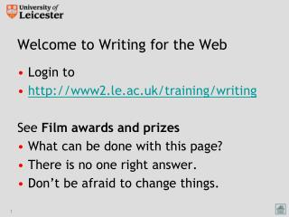 Welcome to Writing for the Web