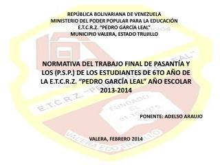REPÚBLICA BOLIVARIANA DE VENEZUELA MINISTERIO DEL PODER POPULAR PARA LA EDUCACIÓN