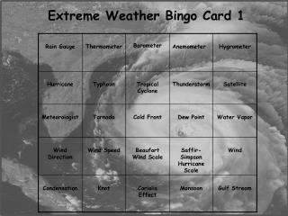 Extreme Weather Bingo Card 1