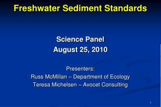 Freshwater Sediment Standards