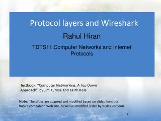 Protocol layers and  Wireshark