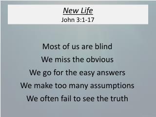 New Life John 3:1-17